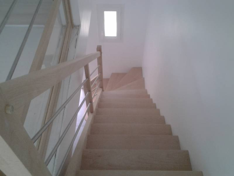 Escalier A Un Quart Tournant Hetre Avec Garde Corps Tubes Inox